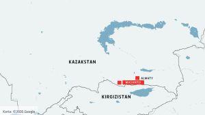 Kazakstan, staden Almaty och byn Masantji utmärkt på kartan. Också grannlandet Kirgizistan är utmärkt.