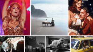Kollaasi Teeman kevään 2020 elokuvista, vasemmalta ylhäältä myötäpäivään: Miami, Piano, Heinäsirkat, Taksikuski, The Party, Manhattan, Fasisti