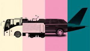 Buss, tåg, bil och flygplan