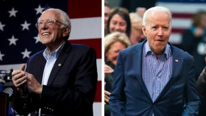 Kollage på Bernie Sanders och Joe Biden.