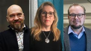 Henkilökuvat Teemu Kahilasta, Satu Takalasta ja Antti Korhosesta.