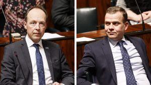 Kollage på Jussi Halla-aho (Sannf) och Petteri Orpo (Saml).