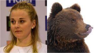 Stina Nilsson till vänster och en björn till höger.