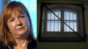 Medelålders kvinna och ett fönster till ett fängelse.