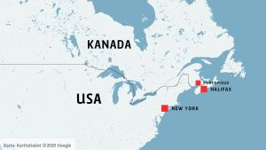 Karta som visar New York och Nova Scotia