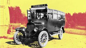 En gammal buss med skylten Pakinkylä(Baggböle).