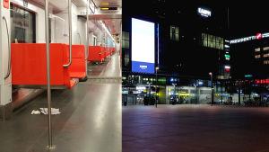 Tomma bänkar i metron och ett tomt torg.