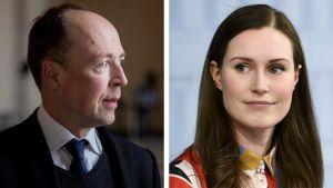 Ett collage på Jussi Halla-aho (Sannf) och Sanna Marin (SDP).