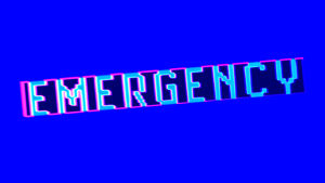 Neontext med ordet Emergency