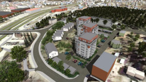 En ritning över Stationsbacken i Karis där flera nya flervåningshus och radhus är inritade.