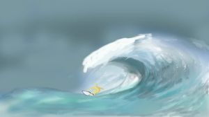 Stor våg som sköljer över surfare, animation. Stort hav.