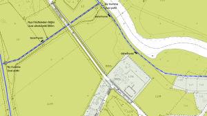 En karta där en ny friluftsled är utmärkt i terrängen.