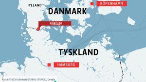 Karta över Danmark och Tyskland med gränsövergången Frøslev markerad.