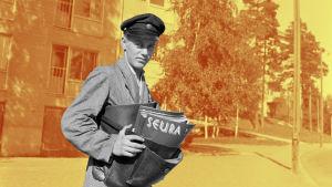 En brevbärare bär ut tidningar.