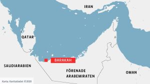 Orten Barakah i Förenade Arabemiraten utprickad på en karta.