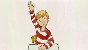 """En animerad bild av en pojke som sitter i sin pulpet och markerar. Bilden är från serien """"Felix börjar skolan."""""""