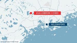 Karta över delar av Helsingforsregionen med olycksplatsen vid Kullobron utmärkt.