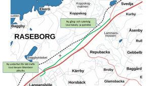 En karta där en ny gång- och cykelväg är inritad vid riksväg 25 mellan Ekenäs och Karis.