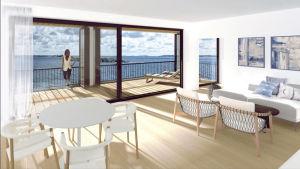 En skiss över ett vardagsrum med soffgrupp och matbord i en lägenhet med utsikt över havet.