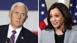 Ett bildcollage på USA:s vicepresidentkandidater, republikanernas Mike Pence (t.v.) och demokraternas Kamala Harris.