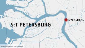 Nyenskans i S:t Petersburg på en karta.