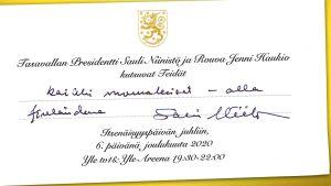 Presidentti Sauli Niinistö ja rouva Jenni Haukio kutsuvat kaikki Linnan juhliin.