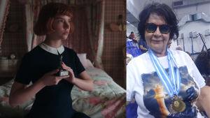 Tvådelad bild. Ena sidan en ung kvinna som håller i en pokal. Andra sidan en äldre kvinna med medaljer runt halsen.
