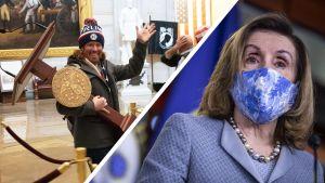 Ett bildcollage med en bild på en Trumpsupporter inne i Capitolium bärande på Nancy Pelosis talarstol och på Nancy Pelosi iförd munskydd.