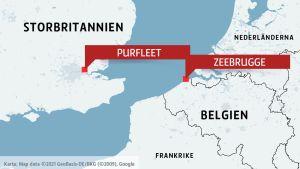 Karta över Storbritannien och Belgien med Purfleet och Zeebrugge markerade.