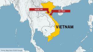 Karta över Vietnam.