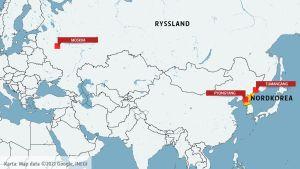 Karta över Ryssland och Nordkorea.