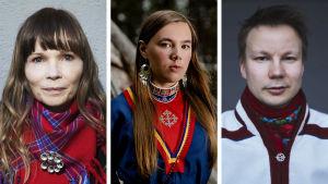 Ann-Helén Laestadius, Moa Backe Åstot och Niillas Holmberg.