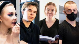 Ett bildcollage med fyra personer. Till vänster syns en kvinna som målar läpparna med läppstift. Nästa till höger är en man med svart munskydd. Andra i mitten är en kvinna som håller i en stor bok. Till höger är den en man som tittar snett in i kameran.
