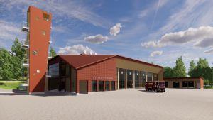 Skiss över Sibbo nya brandstation