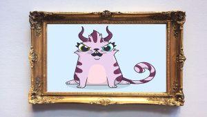 En ritad katt med horn inne i en guldram.