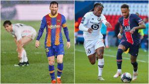 Lionel Messi i en match mot Real Madrid till vänster. Lilles Renato Sanches och PSG:s Neymar till höger.