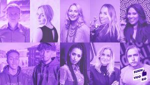 Kuvassa kymmenen somevaikuttajaa, jotka osallistuvat Suunvuoro-kampanjaan.