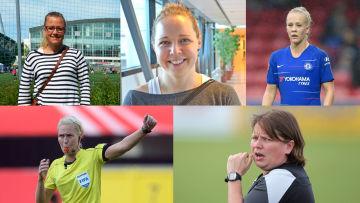 Yle Sportens experter vid dam-VM 2019: Jessica Lagerblom, Heidi Lindström, Adelina Engman, Lina Lehtovaara och Marianne Miettinen.
