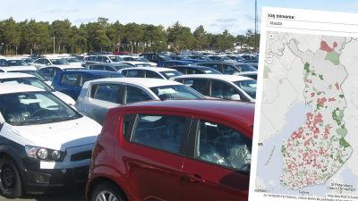 Karta över var olika bilmärken är populära