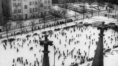Folk åker skridsko, 1933