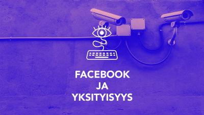 Digitreeniartikkelin pääkuva. Teksti: Digitreenit, Facebook ja yksityisyys, yle.fi/oppiminen. Taustakuvassa valvontakameroita.