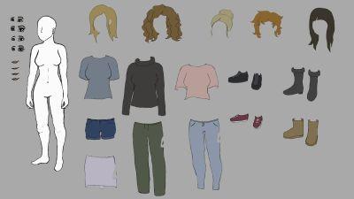 klippdocksbild, kvinnokropp och olikakläd och perukval