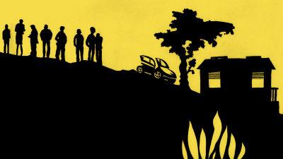illustration av skuggor: människor, en bil och ett hus