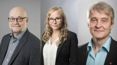 Porträtt av Juha Ojala, Carita Törnqvist och Rune Takamaa.