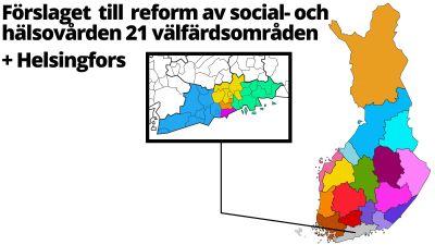 Finlands karta med 21 områden+Helsingfors