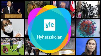 Yle Nyhetsskolans logo och ett kollage av bilder från olika nyhetshändelser.