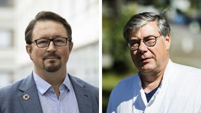 Ett collage på THL-chefen Mika Salminen och HUS-överläkaren Asko Järvinen.