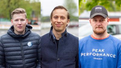 Kommunalvalskandidaterna Rasmus Sulonen, Jooa Rissanen och Jojje Öberg.