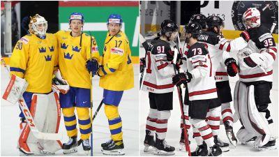 Sverige och Kanada firar sina segrar.