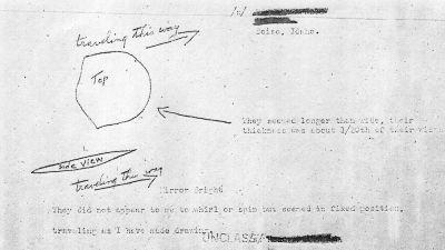 Anteckningar som Kenneth Arnold gjorde om sin UFO-observation.